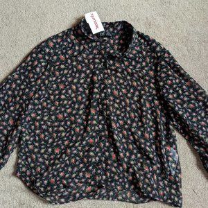 Zara Floral button down long sleeve floral top